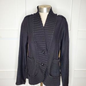 WHBM Black Ruffle Sweater Cardigan Button Front